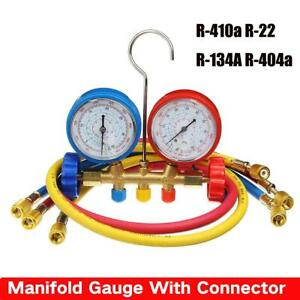 R410a R22 R134a R404a Manifold Gauge Hose Set HVAC A/C Refrigeration Device TOOL