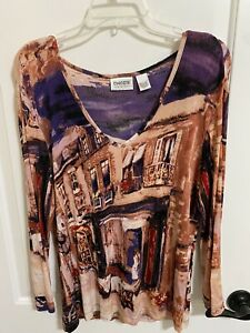 Ladies Chico's Travelers Top, Blouse, Shirt Size 1 - Chicos Multicolor