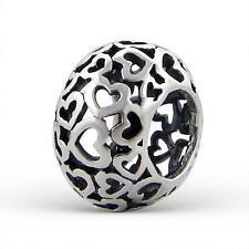 925 Sterling Silver DK Love Hearts Filigree Round Bracelet Charm Bead Gift B606