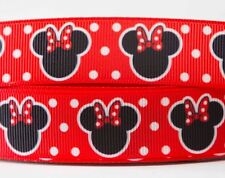 1M X 22mm Grosgrain Ribbon Craft DIY Cake Decorations Hair Bows - Minnie Mouse