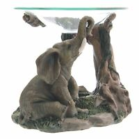 Elephant Oil Burner Realistic Scene 11cm High Tea Light Holder