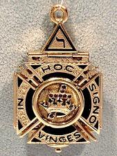 Solid 14K Yellow Gold & Garnets Enameled Scottish Rite Masonic Tri-Fold Fob