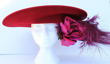 PHILIP TREACY LONDON RED WOOL FELT WIDE BRIM HAT FEATHERS FLOWERS RHINESTONES