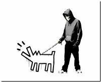 """BANKSY STREET ART CANVAS PRINT Choose your weapon Harring Dog 8""""X 12"""" poster"""