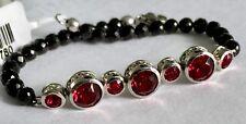 "J Frances Crystal Swarovski Ruby Col SpinaI Plated Platinum Bond Bracelet 7.5"""