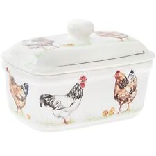 Country Chickens Fine China Butter Dish