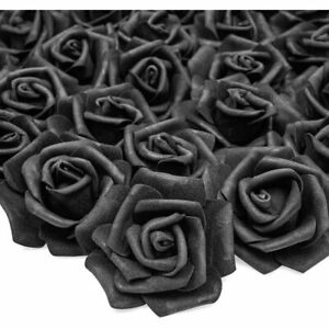 """100 Pack 3"""" Black Artificial Rose Fake Flower Heads for Flower Décor and Wedding"""