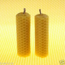 """Lot of 2 THICK BeesWax Candles 3,5"""" Honeycomb HANDROLLED 100% Pure Sweet Wax [M]"""
