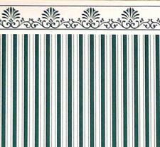 Dolls House Green Cream Windsor Stripe Miniature 1:12 Wallpaper 3 Sheets