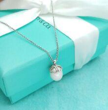 """Authentic Tiffany & Co. Silver Ziegfeld White Pearl Drop Pendant 16"""" Necklace"""