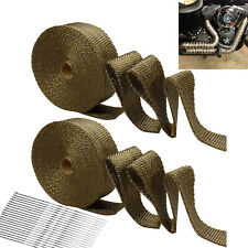 "2 Rolls Titanium Exhaust Wrap Kit Lava Fiber 2"" x 50 ft With Stainless Ties"