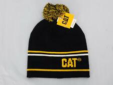 Caterpillar Vintage Snow Cap Beanie CAT Pom hat Black NWT One Size Winter