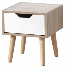 Designer Bedside Cabinet 1 Drawer Oak Veneer Bedroom Furniture Solid Wood Legs