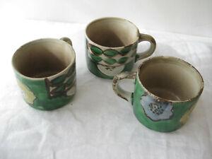 Set of 3 Antique Japanese Arts & Crafts teacups w/ handles