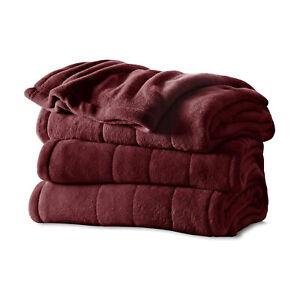 Sunbeam Full Size Soft Microplush Heated Blanket with 10 Heat Settings, Garnet