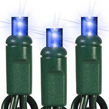 Blue LED Mini Christmas Lights Wide Angle 5mm Lights Green Wire Set Of 70 24 Ft