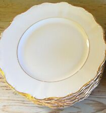 SELTMANN WEIDEN THERESIA PORCELLANA PIATTO PIANO DINNER PLATE GOLD TRIMMED 1949