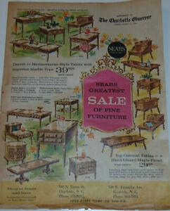 VINTAGE 1964 SEARS FURNITURE ADVERTISING NEWSPAPER! LIVING/DINING ROOM! BEDROOM!
