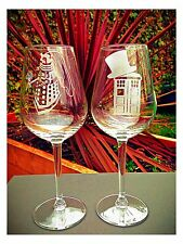 Pair of Engraved Doctor Who Wedding Glasses - New - Handmade