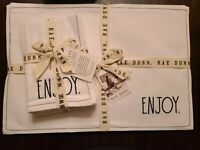 NWT Rae Dunn Set of 4 PLACEMATS & 4 NAPKINS Cotton Blend EAT DRINK CHEERS ENJOY