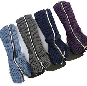 Women Winter Zipper Leg Warmer Crochet Leggings Boot Toppers Gifts Knitted Socks