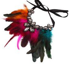 Boho Style Varios Colores En Pluma declaración Gargantilla Negro Cinta Collar Joyas