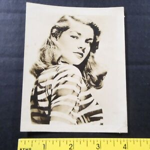 "c1944 LAUREN BACALL Sepia MGM Studios Promotional 4x5"" Photo Snapshot"