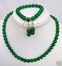 natural 8MM Green jade Beads Necklace&Bracelet&earring Sets