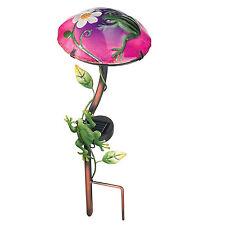 Mushroom Frog Garden Stake Decor Solar Light Out Door Lawn Statue Yard Ornament