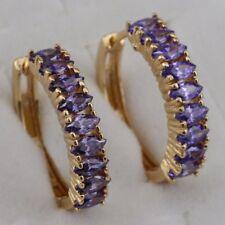 Great Amethyst Purple Gems Jewelry Yellow Golden Filled Huggie Earrings h2871
