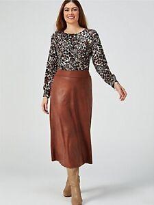 Kim & Co Brazil Jersey Pleather Skirt Cognac Size S BNWOT NEW