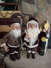 "Set 2 NWT 20"" Santa's Elves ELF Christmas Display Prop Figure Doll Brown Clothes"