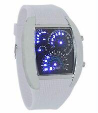 Quality Binary Wrist Watch Digital Car Dash Board Theme LED Sport UK SELLR White