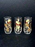 Vintage Disney Winnie The Pooh & Tigger Drinking Glasses Set Of 3 Vtg Tiger Bear