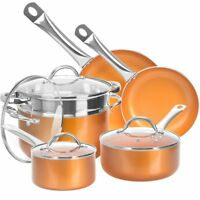 10 piece kitchen cookware set nonstick copper pots and pans cooking set