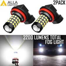 Alla Lighting 2x 2600LM 51-LED H11 H8 6000K White Fog Light Bulbs Driving DRL