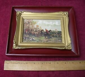 Fine Small Old(?) FOX HUNTING Painting on Wood Panel-Nicely Cleaned & Framed