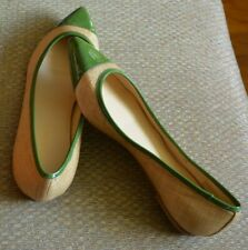 Talbots Ballet Flats Pointed Toe Beige Lime Green Size 7 Slip On