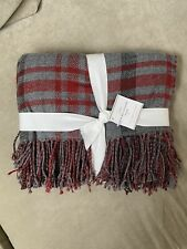 """Pottery Barn Whitaker Reversible Throw Blanket 50"""" x 60"""" Gray Red ~ NWT"""