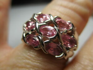 STERLING SILVER ROSS SIMONS PINK TOPAZ LATTICE DOME BAND RING SIZE 7