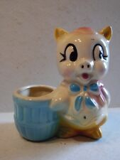 Vintage Cute Shawnee Pottery Pink & Blue & Yellow Pig & Basket Planter Vase