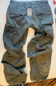 NEW RARE Da-Nang Military Embroidered Dragon Cargo Pant SZ Large Drawstring Hem