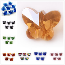 14mm Crystal Butterfly Charms Glass Faceted Spacer Craft Jewelry Making Beads
