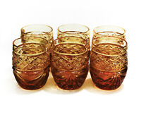 Set of 6 Cut Crystal Amber Shot Glasses Vodka Cognac 50ml/1.7oz Neman Hand-Made
