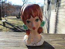 Vintage Lady Headvase Planter  Head Vase Mid Century Redhead RARE