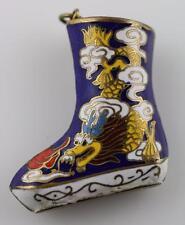 Vintage ENAMEL CLOISONNE chinese Asian serpent Dragon blue boot sock 3-D pendant