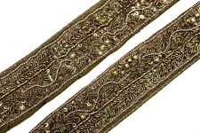 "Vintage Border Embroidered Lace Sari Trim 1.6"" Wide Woven Antique Ribbon ST2494"