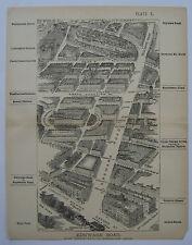 London Edgware Road: antique bird's eye plan by H Fry, c1880