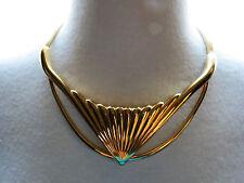 "VTG Monet Couture Gold Plated Bib Snake Chain Necklace 18"" Runway Designer Nice"