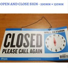 BUSINESS OR SHOP OPEN , CLOSED PLEASE CALL AGAIN SIGN CLOCK TIME - FREE POST